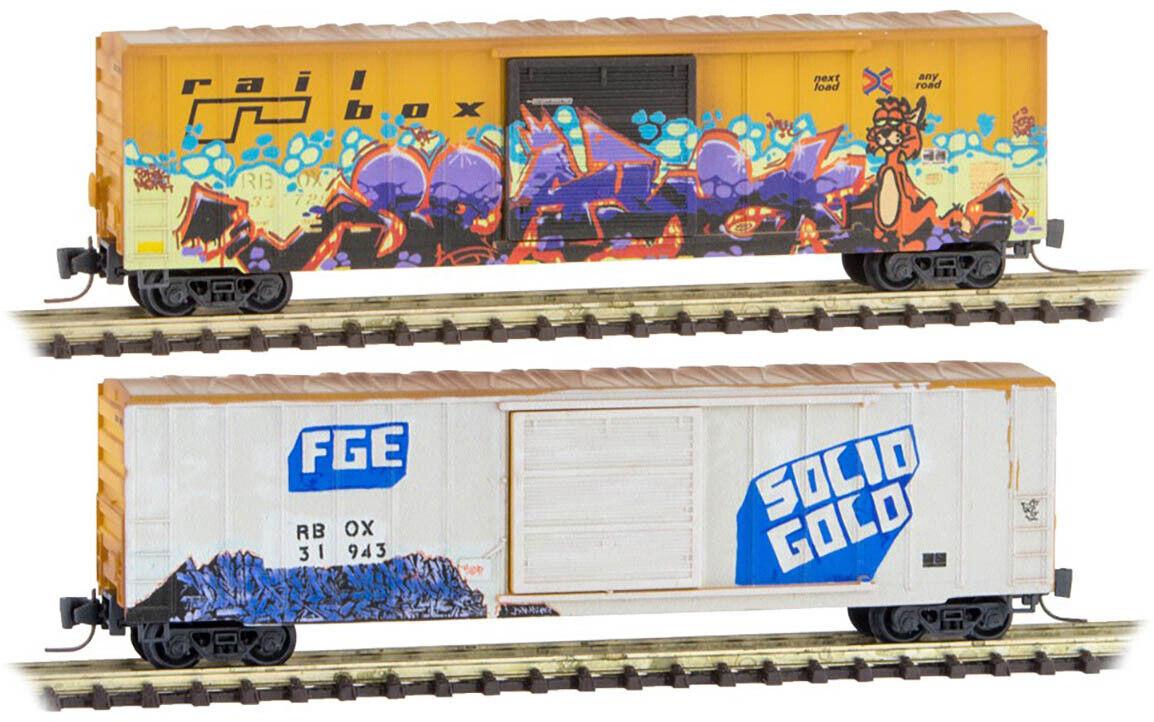 Micro-Trains MTL Z-Scale 50ft. Box Cars Railbox Weathered/Graffiti (FGE/Cat)