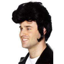 Mens Rockstar Wig Fancy Dress Elvis Rock Roll Quiff Grease Danny Zuko Sideburns
