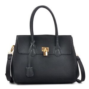 New-Kiss-Lock-Padlock-Women-Handbag-Faux-Leather-Satchel-Tote-Shoulder-Bag-Purse