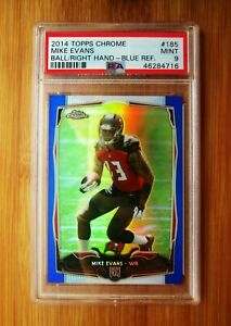 2014 Topps Chrome Blue Refractor #185 MIKE EVANS /199 ROOKIE PSA 9 MINT