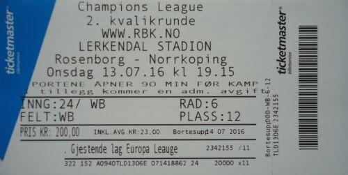 mint TICKET UEFA CL 2016//17 Rosenborg BK Norrköping