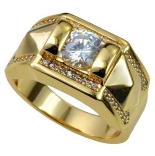 New lover Male Jewelry Rhinestone Full Crystal Gold Silver Plated Men/'s Ring