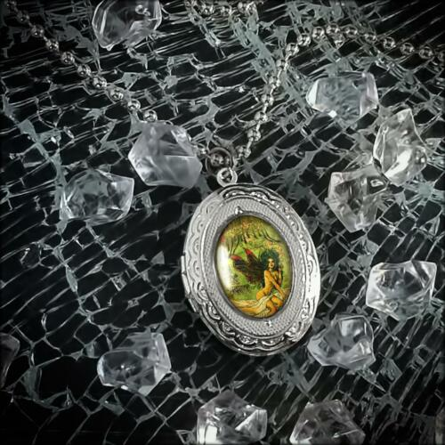 Silver Victorian Absinthe Fairy Woman Art Nouveau Glass Cabochon Locket Necklace