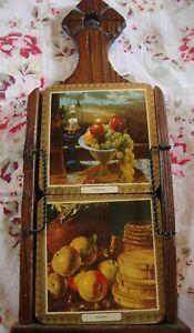 Vintage-Coasters-6-Fruit-Mid-Century-Wall-Hanging-Wood-Holder-Made-Spain-300