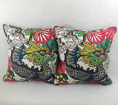 "Schumacher 1 pair of Cushion Covers In Chiang Mai Dragon-Alabaster inc 20"" pads"