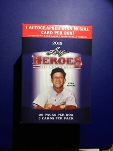 2015-Leaf-Heroes-Of-Baseball-1-Stan-Musial-AUTo-Per-Box-20-Packs-Factory-Seal