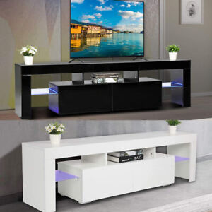 Modern TV Stand Cabinet w/ LED Light for 65 Inch TV Media Storage Console Table