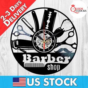 Barber Shop Decor Hair Salon Wall Art Vintage Vinyl Record Clock