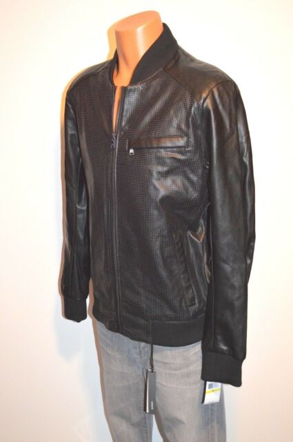 4ac0d6c2d1f3 New  240 Michael Kors Black Faux Leather Perforated Moto Jacket Cuffed sz  Medium