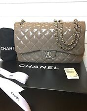 100% Authentic CHANEL Jumbo Double Classic Flap Taupe Patent Beige Silver 2.55