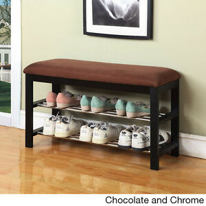 Shoe Rack Wood Bench Micro Home Brown Seat Chocolate Walnut Entryway Organizer