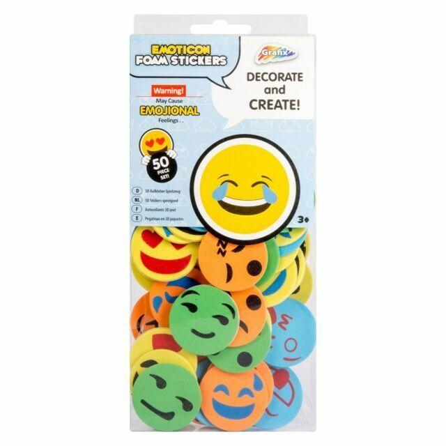 Grafix Emoticon Foam Stickers 50 Pack Emojional Emoji Sticker Art Craft Decorate