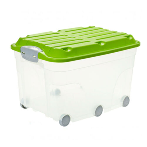 Rotho Aufbewahrungs-Box Ordnungs-Kiste Korb mit Deckel Rollen Kunststoff 57 l