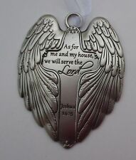 q As for me and my house we will serve the Lord Wings of Angels ORNAMENT cross