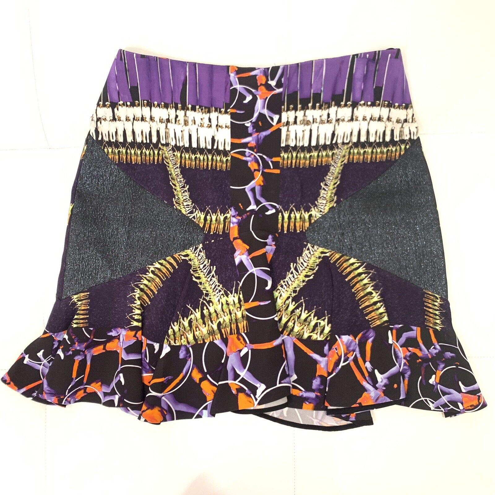 Peter Pilotto Multi Color blancoo Negro Púrpura con  cintura alta falda de volantes talla 42  en linea