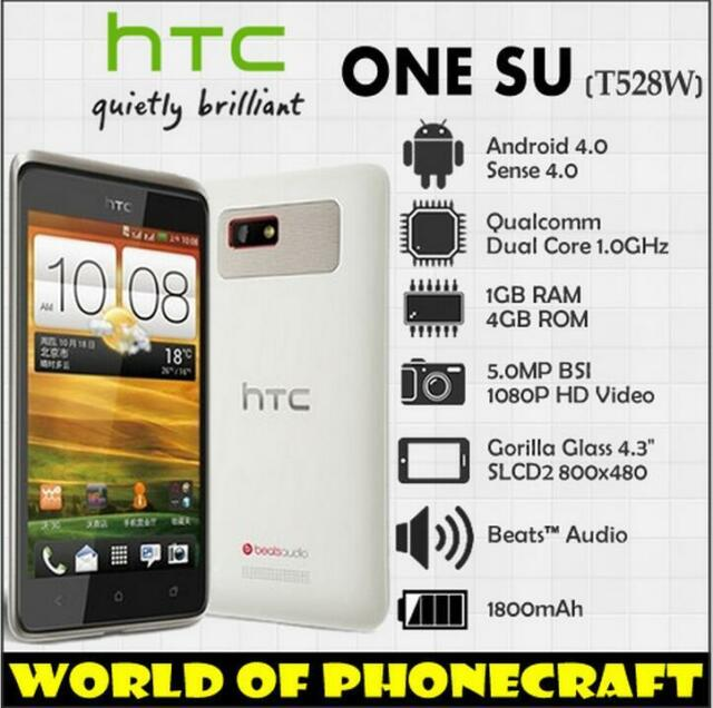 "Original HTC One SU T528w GPS WiFi 3G 5MP 4.3"" Dual SIM Dual Core Unlocked Phone"