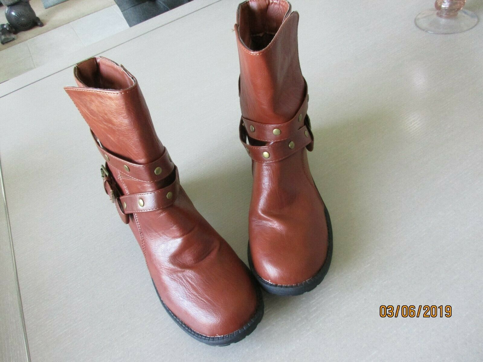 Womens Ankle Boot Brown Casual Street Shoes Block Heel Studs Brown Size 11