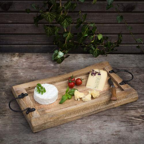 Servierbrett aus Massivholz Käseplatte mit Metallgriff Rustikales Tablett