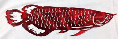 "Arowana Fish Metal Wall Art Decor 16/"" x 5/""  Red"