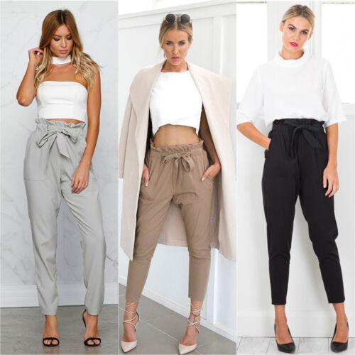 Women High Waist Harem Pants Stretch Plain Elastic Straight Leg Loose OL Trouser