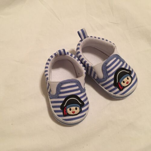 baby babies BOYS SHOES boy striped blue navy pirate pull on soft prewalker pumps