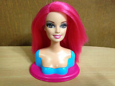 Barbie Doll Fashionista Swappin' Styles Head Sassy Hot Pink Straight Hair Rare