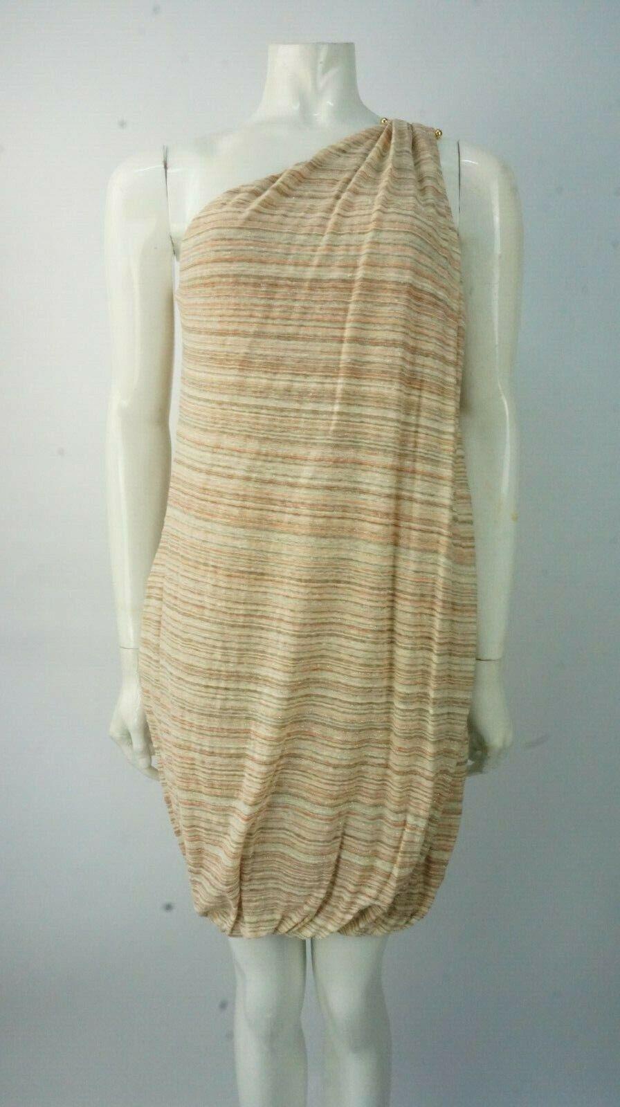 M Missoni Gold Metallic Striped One Shoulder Dress Größe Größe Größe 42 UK 10 BNWTS 9dd340