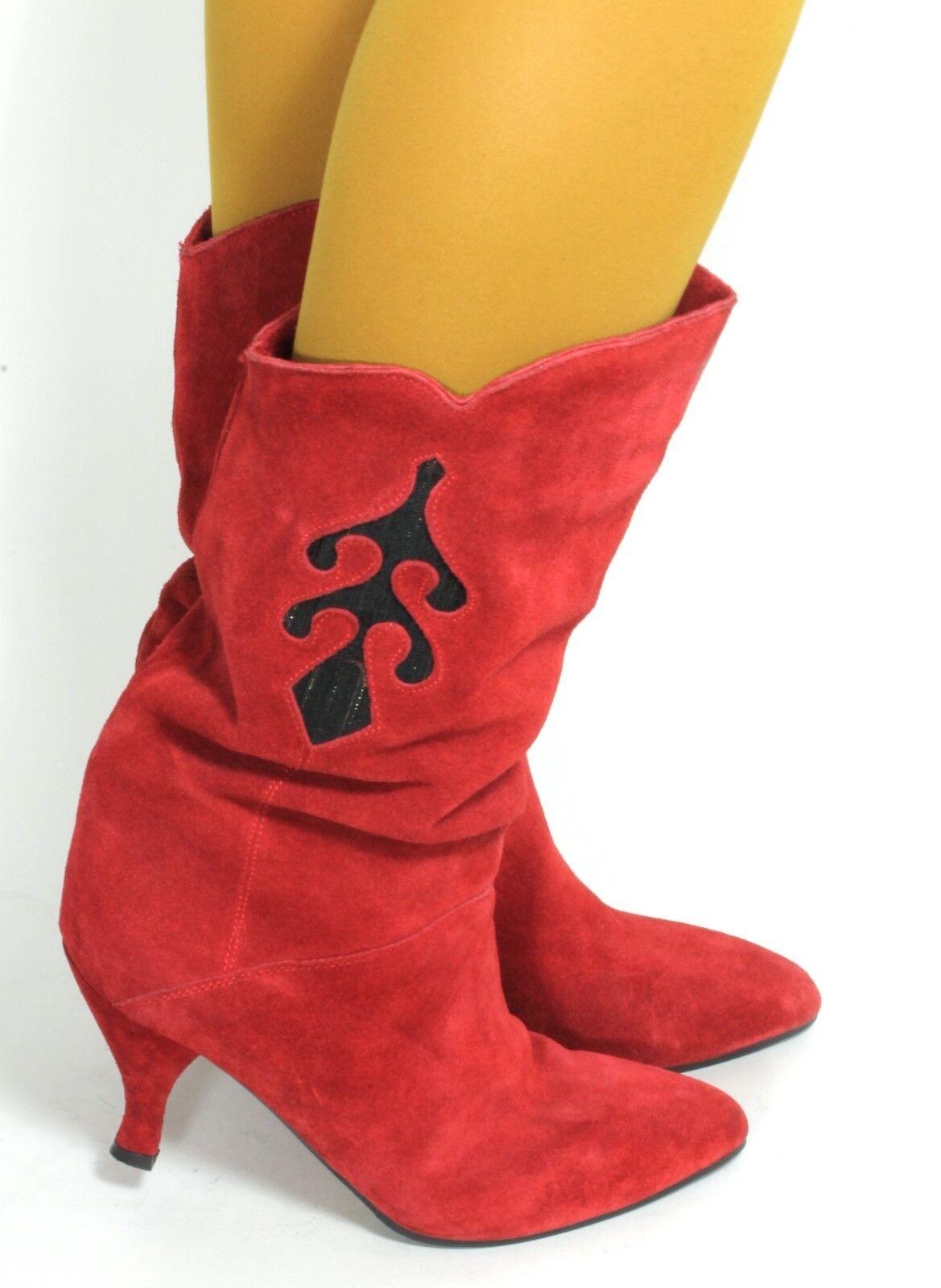 Damenstiefel Vintage Stiefel Stiefel Leder High Heels Rot Gold  41