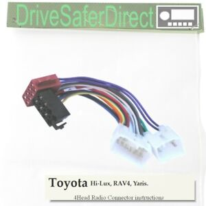 4-Head-7640-61 Radio Cable for Philips Double-DIN ISO Radio/Toyota Yaris
