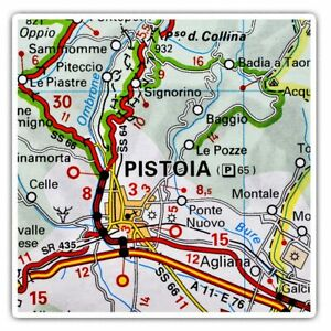 2-x-Square-Stickers-10-cm-Pistoia-Europe-Italy-Italian-Travel-Map-46123