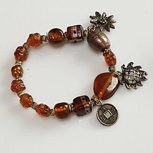 Handmade-beautiful-brown-glass-bead-bracelet-with-charms