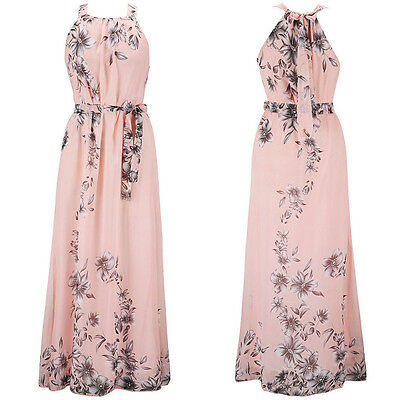 Plus Size Women Boho Floral Chiffon Long Maxi Dress Evening Party Sundress UK 20