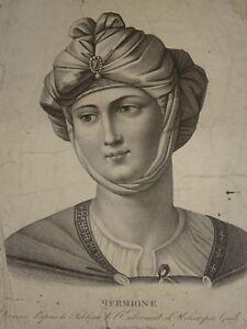 GRANDE-GRAVURE-FEMME-NEOCLASSIQUE-HERMIONE-ORIENTALISTE-EPOQUE-EMPIRE-1810