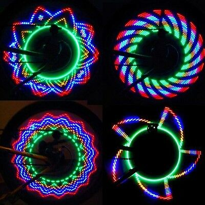 Colorful Rainbow 32 LED Cycling Bike Bicycle Tire Wheel Signal Spoke Light Lamp