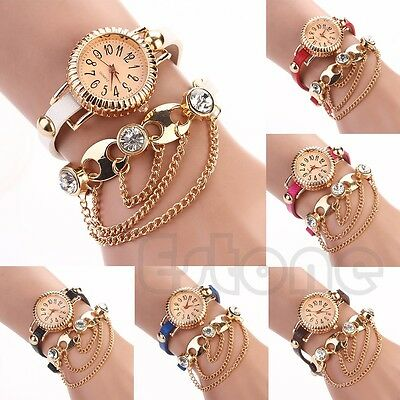 Sparkling Women Bohemia Faux Leather Rhinestone Wrist Quartz Sling Chain Watch