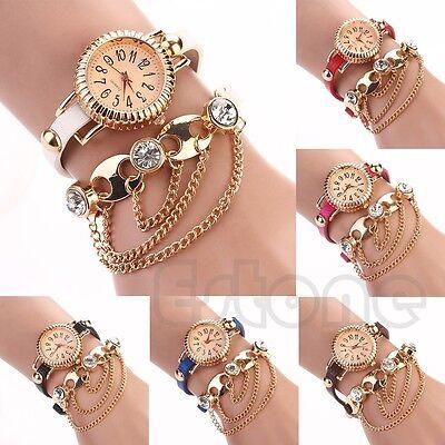 Sparkling Women Bohemia Faux Leather Rhinestone Wrist Quartz Sling Chain Watch