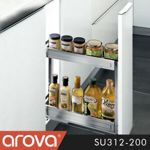 Pull Out Pantry SS Organiser Kitchen Base Storage Soft Close For 200mm Cabinet
