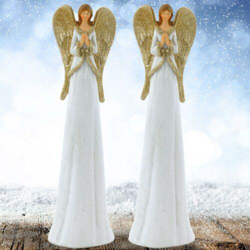 2er Set Weihnachts Deko Steh Figuren Schutz Engel Gold Glitzer Flügel H 29 cm