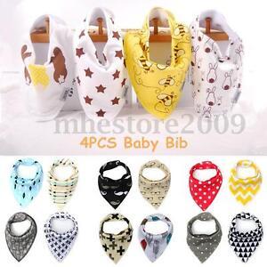 4Pcs Unisex Baby Kids Bandana Infant Bibs Feeding Saliva Dribble Towel