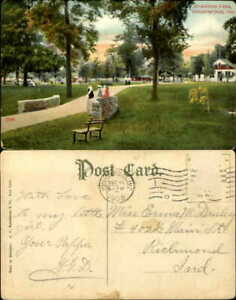 Riverside-Park-Indianapolis-Indiana-stone-wall-vintage-postcard-mailed-1908