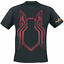 Official-Licensed-Spider-Man-Shimmer-Encre-Homme-T-Shirt-Noir miniature 1
