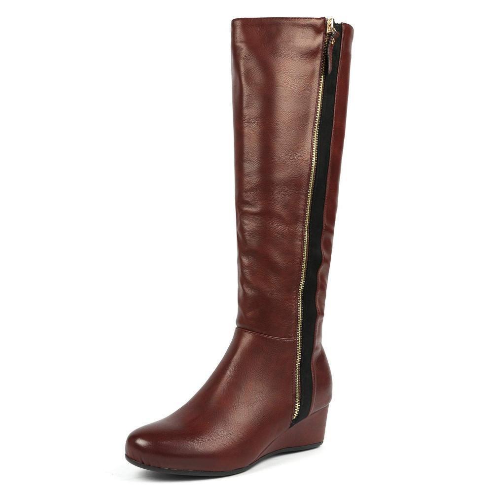 Dream pares para Mujer Bajo Wedge Knee High High High Invierno botas De Moda  40% de descuento