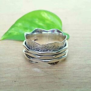 Solid-925-Sterling-Silver-Spinner-Meditation-Ring-Statement-Ring-Size-V-ra-405