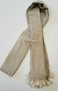Men-039-s-Scarf-with-Tan-and-White-Checks-and-Fringe-Long