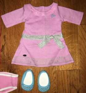 Truly Me Lilac Meet Outfit Lavender Dress Shoes American Girl Doll Clothes