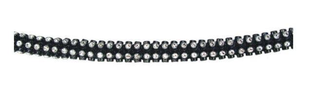 6.4mm Faux Rhinestone Black / Silver Cord Trim (per metre)