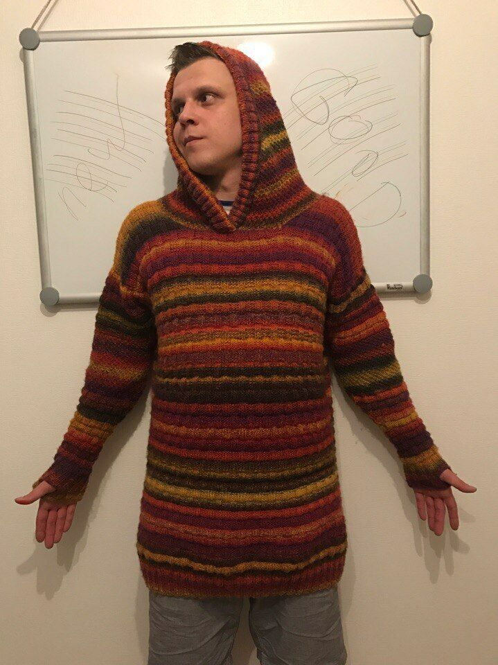 Sweater, 100% wool, hand-made, Größe XXL, knitting his brother's wife.