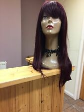 Real Ladys 100% Human Hair Wigs~ Ladies Wig  Long  99j Wine /Burgundy