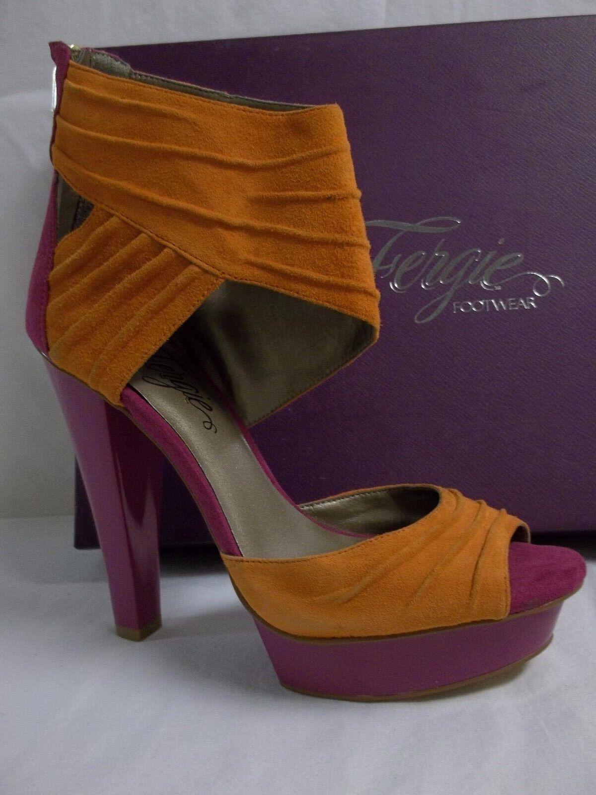 Fergie Größe 7 M Chipper Fuchsia Leder Open Toe Heels NEU Damenschuhe Schuhes