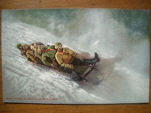 bobsleigh-Sport-d-039-hiver-Course-de-bobs-vers-1910-Etat-LUXE-neuve